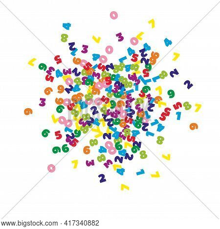 Falling Colorful Numbers. Math Study Concept With Flying Digits. Breathtaking Back To School Mathema