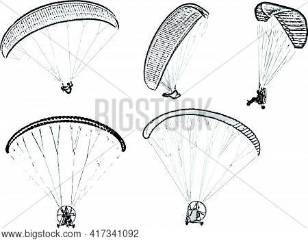 Set Of Black And White Vector Image Of Parachutists Soaring On Paragliders