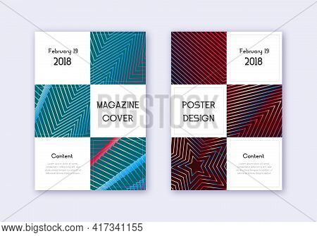 Business Cover Design Template Set. Red White Blue