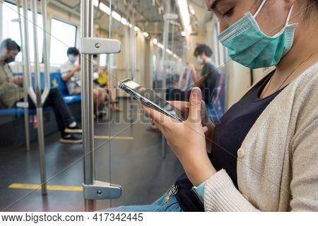 Train, Woman, Smartphone, Mask, Young, Technology, Traveler, Communication, Female, Railway, Journey