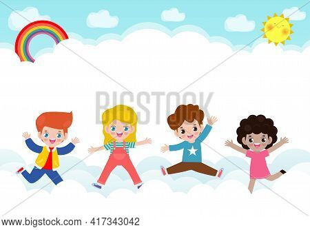 Happy Children Jumping On The Cloud And Rainbow Background Poster With Happy Kids Jump Greeting Card