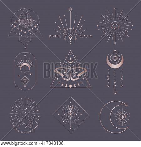 Golden Vector Abstract Mystic Line Design Elements