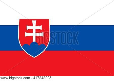 Official National Flag Of Slovakia. Flag Of The Slovak Republic, Correct Proportions And Colors. Thr