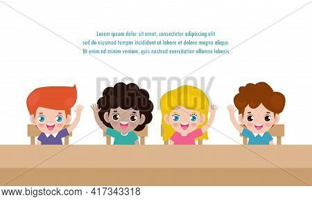 Pupils Study Raising Hands In The Classroom, Back To School, Primary School Pupils Sit At Desk, Bann