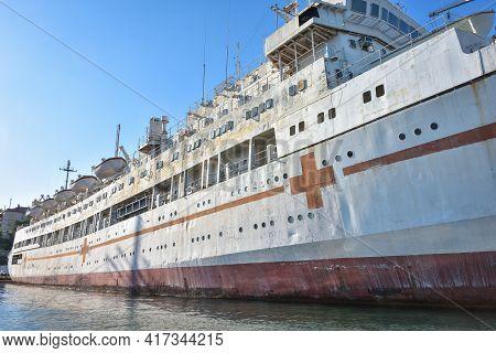 Sevastopol, Crimea, Russia - September 15, 2020: Hospital Ship Yenisei, Black Sea Fleet