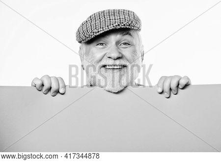 Announcement Concept. Public Information. Advertisement Elderly People. Pensioner Hold Poster Inform