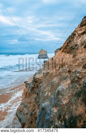 Scenic View Of Limestone Rocks From The Gibbson Steps On The Great Ocean Road In Victoria, Australia