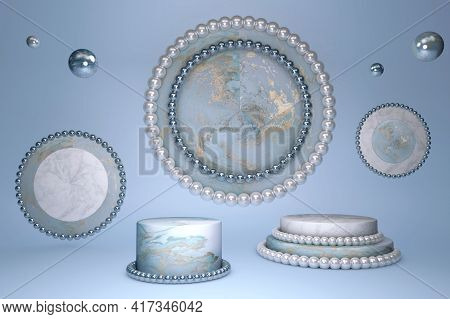 3d Beautiful Blue Marble Effect Cylinder Podium With Gold Pattern And White Shining Pearl Decoration