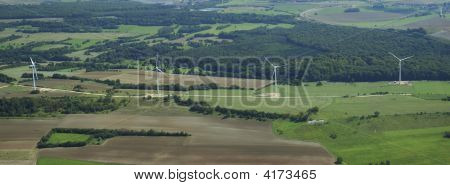 Panoramic And Aerial View Of Wind Farm