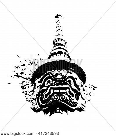 Giant Of Thailand, Black White Hand Drawn Style With Ink Splatters And Drops, Thai Giant Head Abstra