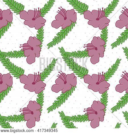 Seamless Floral Pattern. Pink Flower With Outline, Green Leaf And Colored Dots With Transparency Bac
