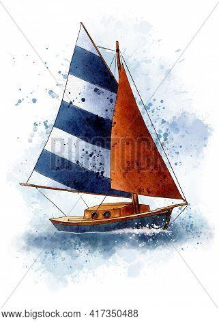 Boat Print Watercolor Boat Print Kids Room Decor Boys Room Wall Art Nautical Wall Art Sailboat Art P