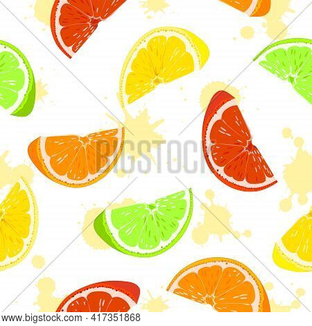 Seamless Pattern. Orange, Lemon, Lime, Grapefruit. Citrus Slices. Vector.