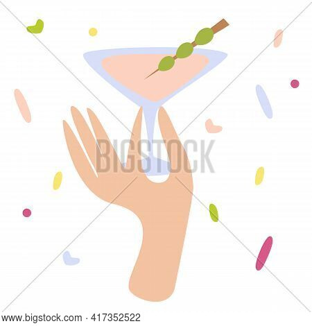 Woman Hand Holding A Cocktail Glass With Martini Or Alcohol Drink With Olive. Happy Hour, Cheers Sig