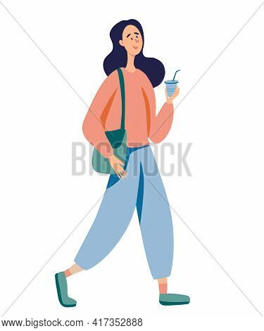 Young Cute Girl Is Standing And Drinking Coffee. Woman Is Holding A Coffee Cup. Young Woman, Cartoon