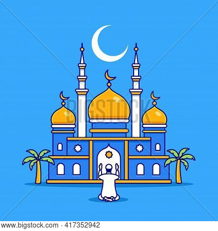 Islamic Mosque With A Believer. The Holiday Of Ramadan, The Religion Of Islam. Construction In Islam