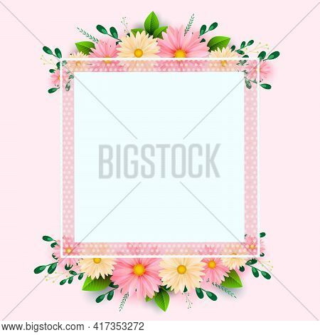 Mother S Day Greeting Card With Square Frame And Paper Cut Flowers On Colorful Background. Vector Il
