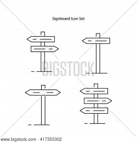 Signboard Icon Set Isolated On White Background. Signboard Icon Thin Line Outline Linear Signboard S