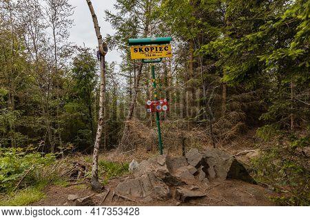 Kaczawskie Mountains, Poland - June 17 2020: Peak Of Skopiec Highest Point In Kaczawskie Mountains
