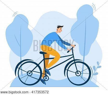 Young Man Riding Bicycle Outdoors In Park. Environment Friendly, Ecologically Clean Personal Transpo