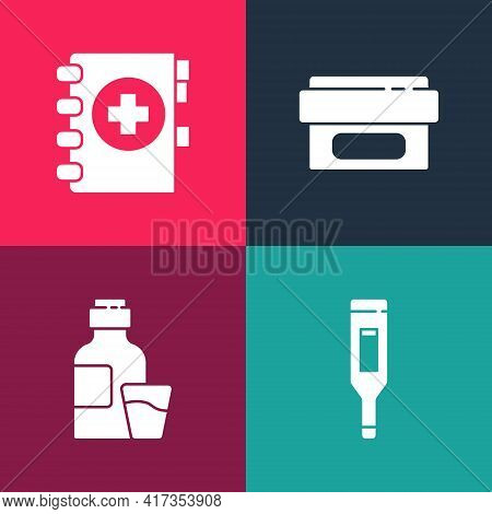 Set Pop Art Medical Digital Thermometer, Bottle Of Medicine Syrup, Ointment Cream Tube And Clipboard