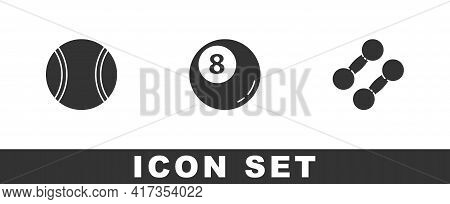 Set Tennis Ball, Billiard Pool Snooker And Dumbbell Icon. Vector