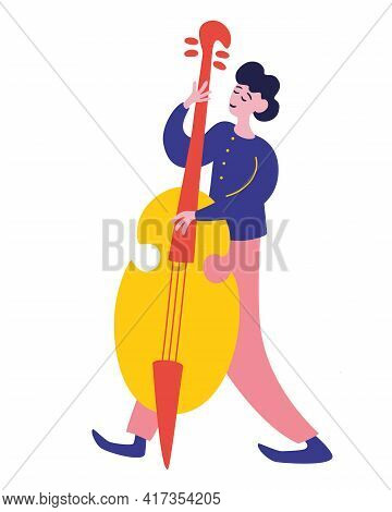 Young Man Playing On Contrabass. Young Man Playing Double Bass, Male Jazz Musician Character. Jazz F