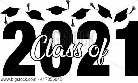 Class Of 2021 Graphic With Graduation Caps Flying In Air