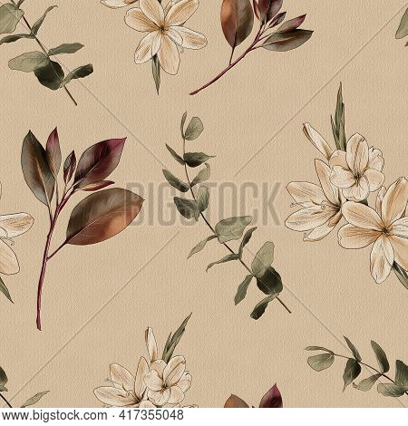 Botanical Vintage Background. Flowers And Branches On A Beige Background, Watercolor, Seamless Patte