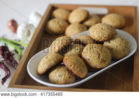 Home Baked Masala Cookies. Sweet And Spicy Cookies With Flavours Of Shallots, Garlic, Cinnamon, Card