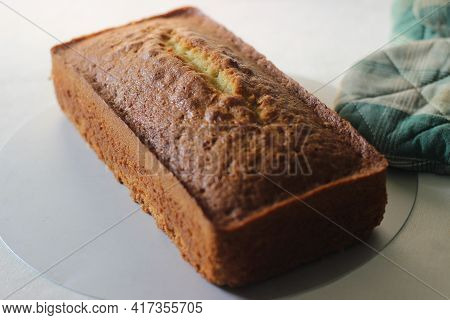 A Loaf Of Home Baked Vanilla Cake. It Is Also Called Yellow Cake Or Butter Cake Or Tea Cake.