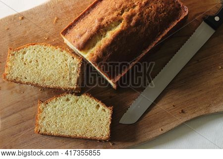 Slices Of Home Baked Vanilla Cake. It Is Also Called Yellow Cake Or Butter Cake Or Tea Cake