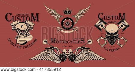 Set Of Motorcycle Emblems. Design For Emblems, Brands, Banners, Flyers. Vector Image On A Red Backgr