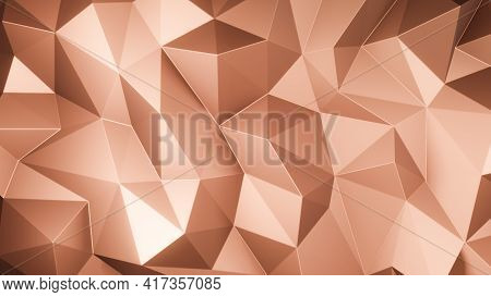 Rose Gold Triangle Low Polygon. Brown Geometric Triangular Polygonal. Abstract Mosaic Background. 3D