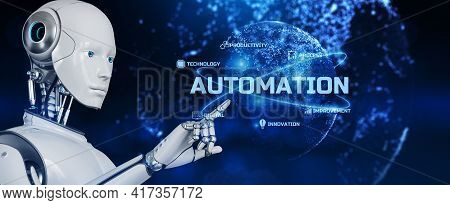 Robotic Business Process Workflow Automation Rpa. Robot Pressing Button On Screen 3d Render