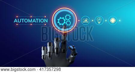 Automation Rpa Business Process Workflow Optimisation Innovation Technology Concept. Robotic Arm 3d