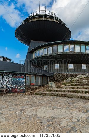 Giant Mountains, Poland - June 23 2020: High Mountain Meteorological Observatory Building At The Pea
