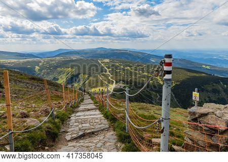 Giant Mountains, Poland - June 23 2020: Long Mountain Trails And Crossroads From Snezka Mountain To