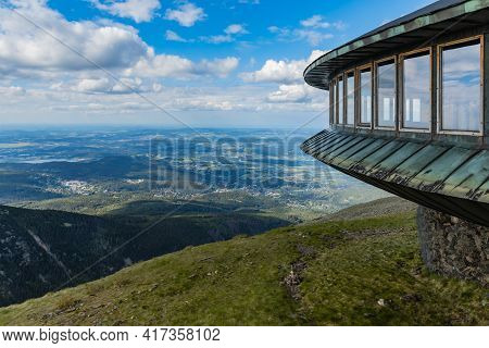 Giant Mountains, Poland - June 23 2020: Beautiful Landscape Of Cities And Hills Down To Giant Mounta