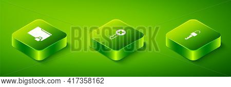 Set Isometric Wrong Key, Unlocked And Folder And Icon. Vector
