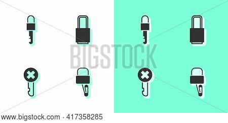 Set Lock Picks For Lock Picking, Locked Key, Wrong And Icon. Vector