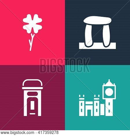 Set Pop Art Big Ben Tower, London Phone Booth, Stonehenge And Four Leaf Clover Icon. Vector