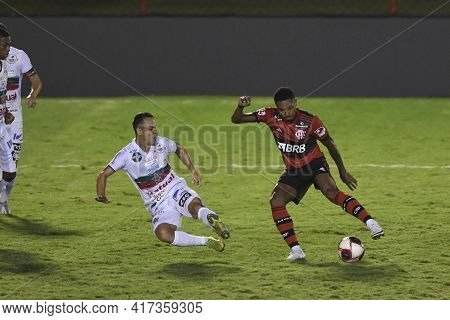 Rio, Brazil - April 17, 2021: Vitinho Player In Match Between Portuguesa V Flamengo By Carioca Champ