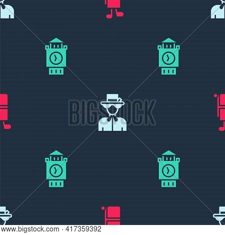 Set Golf Bag With Clubs, Queen Elizabeth And Big Ben Tower On Seamless Pattern. Vector