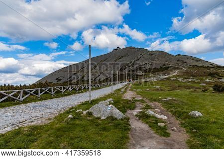 Giant Mountains, Poland - June 23 2020: Long Mountain Trail To Peak Of Sniezka The Highest Point Of