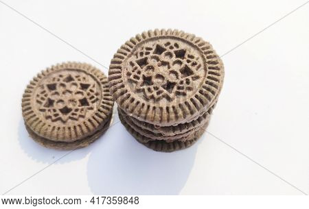 Biscuits On Isolated White Background.concept For Food And Nutrient.