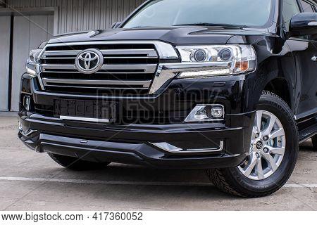 Uzhhorod, Ukraine. March 2021 Black Car Of The Japanese Brand Toyota Land Cruiser. Suv, 4x4. Reliabl