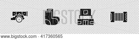 Set Cannon, Valenki, Mausoleum Of Lenin And Accordion Icon. Vector