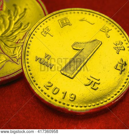 1 Chinese Yuan Coins Close-up. Bright Tinted Square Illustration In The Colors Of The National Flag: