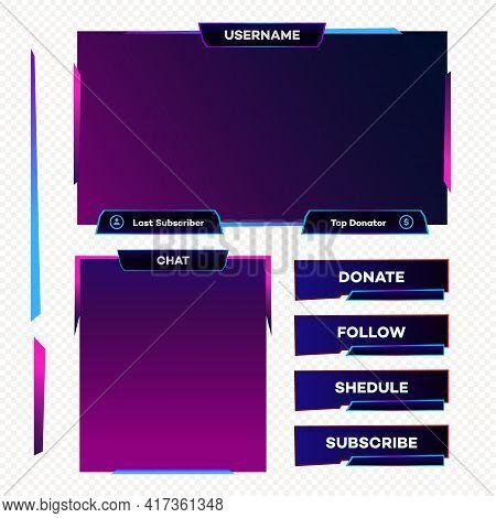 Screen Panel Overlay Game Design Template Neon Theme. Live Video, Stream, Online Stream Futuristic T